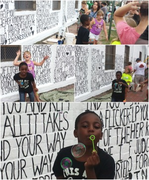 The Light of HumanKindness wall, GaptoothDiva and family attends